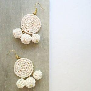18k Beaded Dangle Pom Earrings Boho Gift